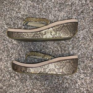 Volatile embellished wedge flip flops